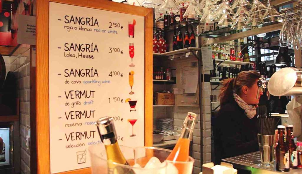 Sangria, vermuth and the prices.